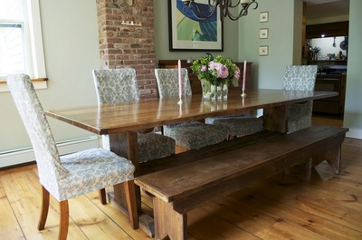 Upholstered Chairs Give A Casual Elegance To This Farm Table And Bench