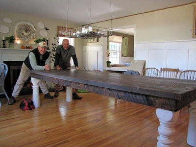 Farm Table Made From Reclaimed Oak Flooring And Porch Posts