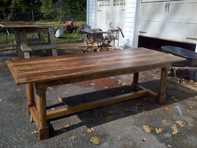 Counter Height Dining Table With Built In Wine Racks. Walnut Trestle Table